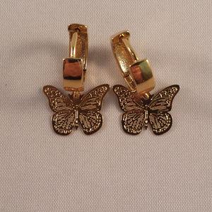 14K Yellow Gold Butterfly Carved Hoop Earrings GF